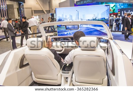 LAS VEGAS - JAN 08 : The Hyundai booth at the CES Show in Las Vegas, Navada, on January 08, 2016. CES is the world's leading consumer-electronics show.
