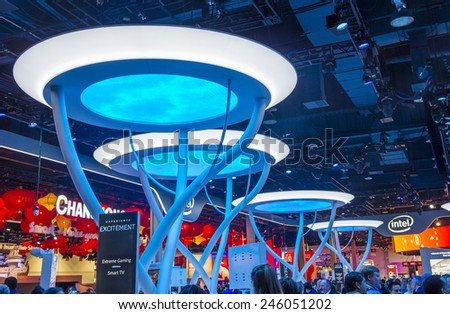 LAS VEGAS - JAN 09 : The Intel booth at the CES show held in Las Vegas on January 09 2015 , CES is the world's leading consumer-electronics show.