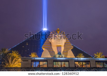 LAS VEGAS - JAN 24: The Luxor hotel and casino on January 24, 2013 in Las Vegas. Las Vegas in 2012 broke the all-time visitor volume record of 39-plus million visitors - stock photo