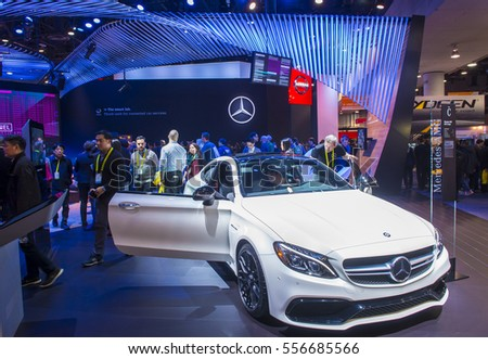 LAS VEGAS - JAN 08 : The Mercedes booth at the CES Show in Las Vegas, Navada, on January 08, 2017. CES is the world's leading consumer-electronics show.