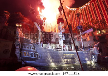 LAS VEGAS - JAN 18: The outdoor live free show The Sirens of Treasure Island on Jan 18, 2011 in Las Vegas, Nevada. The show presents several times nightly with a large cast of stunt performers. - stock photo