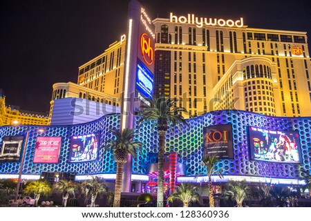LAS VEGAS - JAN 09 : The Planet Hollywood hotel and casino on January 09 , 2013 in Las Vegas. Las Vegas in 2012 broke the all-time visitor volume record of 39-plus million visitors
