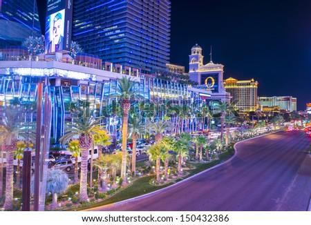 LAS VEGAS - JAN 24 : View of the strip on January 24, 2013 in Las Vegas. The Las Vegas Strip is an approximately 4.2-mile (6.8 km) stretch of Las Vegas Boulevard in Clark County, Nevada. - stock photo