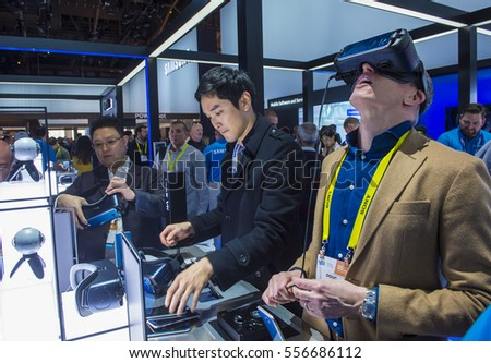 LAS VEGAS - JAN 08 : Virtual reality demonstration at The Samsung booth at the CES show in Las Vegas on January 08 2017 , CES is the world's leading consumer-electronics show.