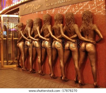 LAS VEGAS - JANUARY 10: The Golden Girls - symbol of Las Vegas, located by Riviera Hotel on  Las Vegas Boulevard, The Strip. Night time. January 10, 2006, Las Vegas, Nevada, USA - stock photo