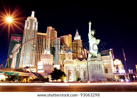 LAS VEGAS - JUL 14: New York-New York hotel casino creating the impressive New York City skyline with skyscraper towers and Statue of Liberty on Luly 14, 2011 in Las Vegas, Nevada. - stock photo