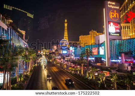LAS VEGAS - JUL 17: The Paris Las Vegas hotel and casino on Las Vegas Strip on July 17, 2013 in Las Vegas, Nevada.   - stock photo