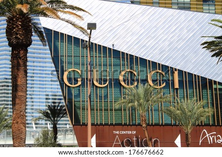 LAS VEGAS - JULY 3: Gucci store shopping on the famous Strip on July 3, 2012 in Las Vegas, Nevada. Gucci was founded in 1921 by Guccio Gucci in Florence. - stock photo