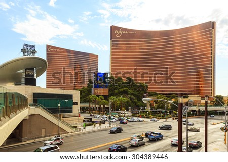 LAS VEGAS - JULY 6 2015: Las Vegas Wynn hotel and Casino, named after casino developer Steve Wynn and is the flagship property of Wynn Resorts Limited.  40 million people visiting the city each year.