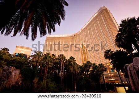 LAS VEGAS - JULY 13: Night view of Mandalay Bay Hotel and Casino on the Las Vegas Strip, Nevada July 13, 2011 More than 37.5 million people visit Las Vegas every year. - stock photo