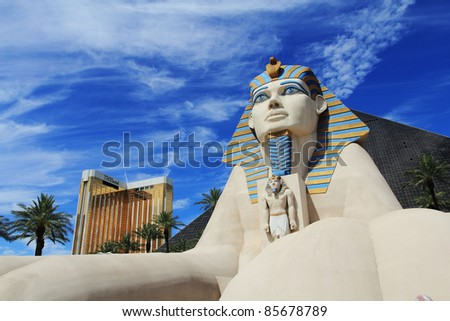LAS VEGAS - JULY 28 : Statue of Sphinx from Luxor Hotel Casino, the most recognizable hotels on the popular Vegas strip because of its striking design, JULY 28, 2011 in Las Vegas, Nevada. - stock photo