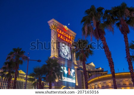 LAS VEGAS - JULY 03 :The Caesars Palace hotel on July 03, 2014 in Las Vegas. Caesars Palace is a luxury hotel and casino located on the Las Vegas Strip. Caesars has 3,348 rooms in five towers  - stock photo