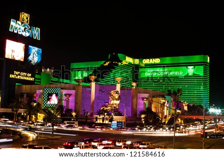 LAS VEGAS - JULY 3: The MGM Grand Hotel & Casino on July 3, 2011 in Las Vegas, Nevada. The MGM Grand opened on December 18, 1993 and it was the largest hotel in the world when it opened. - stock photo