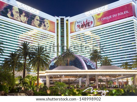 LAS VEGAS -JULY 16 : The Mirage Hotel in Las Vegas on July 16 2013 ,The hotel Opened in 1989, and it has 2.884 rooms and a casino with 100,000 square feet of gaming space. - stock photo