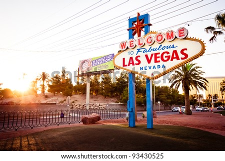 LAS VEGAS - JULY 13: The Welcome to Fabulous Las Vegas sign on Las Vegas Strip on July 13, 2011. Landmark funded in May 1959 and erected soon after by Western Neon. - stock photo