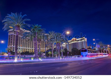 LAS VEGAS - JULY 31 : View of the strip on July 31, 2013 in Las Vegas. The Las Vegas Strip is an approximately 4.2-mile (6.8 km) stretch of Las Vegas Boulevard in Clark County, Nevada. - stock photo