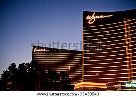 LAS VEGAS - JULY 14: Wynn and Encore Las Vegas Resort and Country Club located on the Las Vegas Strip on July 14, 2011 in Las Vegas. Wynn opened on April 28, 2005 and cost US$2.7 billion to build - stock photo