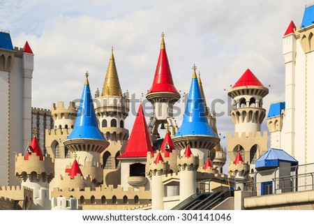 LAS VEGAS - JUN 8 2015: The Excalibur hotel and Casino is shown in Las Vegas, Nevada. The Excalibur opened on June 19, 1990 reported strong net revenue gain of $2.23 billion in third quarter 2011 - stock photo