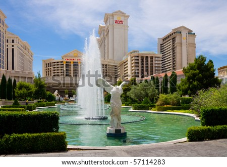LAS VEGAS - JUNE 3: Caesars Palace hotel & casino on June 3, 2010 in Las Vegas. It opened on August 5, 1966 and has 3,348 rooms in five towers: Augustus, Centurion, Roman, Palace, and Forum. - stock photo