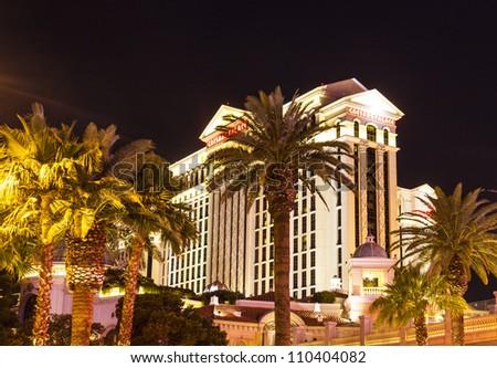 LAS VEGAS - JUNE 15: Caesars Palace resort facade on June 15, 2012 in Las Vegas. Caesars Palace is a luxury hotel and casino containing 3,348 rooms, located on the famous Las Vegas Strip. - stock photo