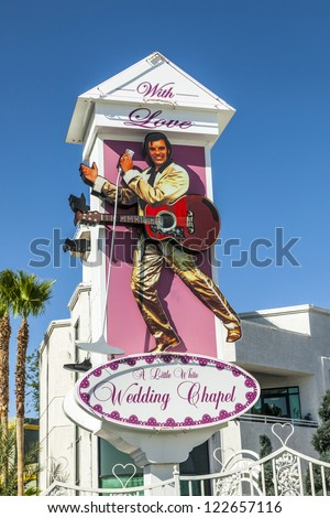 LAS VEGAS - JUNE 15: Little White Wedding Chapel o, june 15, 2012 in Las Vegas, USA. They offer a 24 hour service  and quick marriage is done in about 30 minutes. - stock photo
