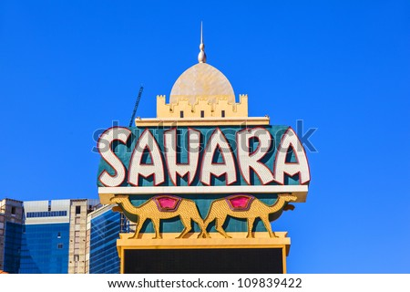 LAS VEGAS - JUNE 15: Sahara Neon Sign on the side of the Hotel which has since closed on June 15,2012 in Las Vegas, Nevada. - stock photo