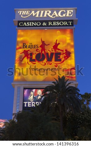 LAS VEGAS - JUNE 05, : The Mirage Hotel on June 05, 2013  in Las Vegas, NV. Sir George Martin and his son Giles created the three-time Grammy-winning soundtrack for the Beatles Love. - stock photo