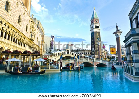 LAS VEGAS - JUNE 4: The Venetian Resort Hotel & Casino on July 17, 2008. The resort opened on May 3, 1999 with flutter of white doves, sounding trumpets, singing gondoliers and actress Sophia Loren. - stock photo