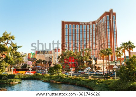 Las Vegas - June 17, 2013: View on Treasure Island Hotel on the Strip on June 17, 2013 in Las Vegas. The Las Vegas Strip in an approximately 4.2mi stretch of Las Vegas Boulevard , Nevada - stock photo