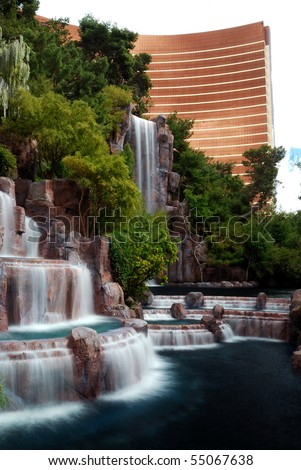 LAS VEGAS - MAR 4: Las Vegas Wynn hotel and Casino, named after casino developer Steve Wynn and is the flagship property of Wynn Resorts Limited, with waterfall horticulture.