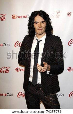 LAS VEGAS - MAR 31: Russell Brand arrives at the CinemaCon awards ceremony at the Pure Nightclub at Caesars Palace in Las Vegas, Nevada on March 31, 2011.