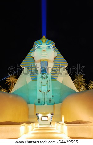 LAS VEGAS - MAR 4: Sphinx from Luxor Hotel Casino, March 4, 2010 in Las Vegas, Nevada. The Luxor is among the most recognizable hotels because of its striking design and bright light. - stock photo
