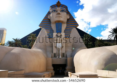 LAS VEGAS - MAR 4: Statue of Sphinx from Luxor Hotel Casino, the most recognizable hotels on the popular Vegas strip because of its striking design, March 4, 2010 in Las Vegas, Nevada. - stock photo