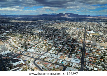 LAS VEGAS - MAR 4: Vegas Strip aerial view on March 4, 2010 in Las Vegas, Nevada. The Las Vegas Strip is 3.8 mile stretch featured with world class hotels and casino. - stock photo