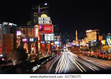 LAS VEGAS - MAR 4: Vegas Strip at night on March 4, 2010 in Las Vegas, Nevada. The Las Vegas Strip is 3.8 mile stretch featured with world class hotels and casino.