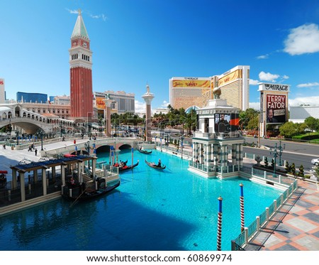 LAS VEGAS - MAR 4: Venetian Hotel Casino on March 4, 2010 in Las Vegas, Nevada. Venetian is famous with Venice replica scene and European style architecture and is filmed in several US movies. - stock photo