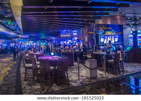 LAS VEGAS - MARCH 10 : The interior of Aria Resort and Casino in Las Vegas on March 10 2014. The Aria was opened on 2009 and is the world's largest hotel to receive LEED Gold certification