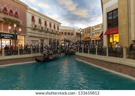 LAS VEGAS - MARCH 30: The Venetian hotel on MARCH 30, 2013  in Las Vegas. The shoppes at the Palazzo receive over 20 million visitors a year, among the highest in the country.