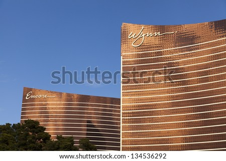 LAS VEGAS - MARCH 30: The Wynn and Encore on MARCH 30, 2013  in Las Vegas. Sister properties Wynn and Encore feature huge Rooms that range from 640 sq ft to 7,000 sq foot. - stock photo