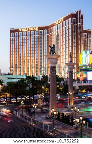 LAS VEGAS - MARCH 31: Treasure Island Hotel and Casino on March 31, 2012 in Las Vegas. This Caribbean themed resort has an hotel with 2,884 rooms - stock photo