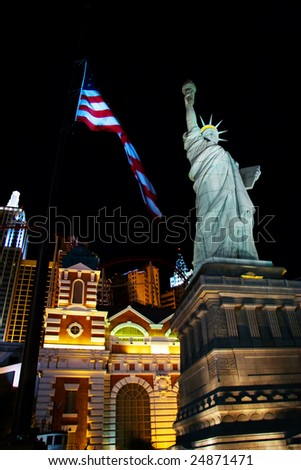 LAS VEGAS- MAY 1: A replica of the Statue of Liberty lays outside the New York New York Casino on May 1, 2007 in Las Vegas. The original Statue of Liberty was presented to the USA by France in 1886. - stock photo