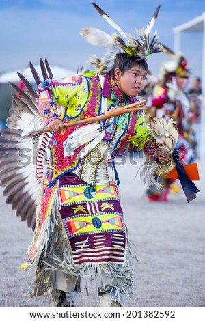 LAS VEGAS - MAY 24 : Native American man takes part at the 25th Annual Paiute Tribe Pow Wow on May 24 , 2014 in Las Vegas Nevada. Pow wow is native American cultural gathernig event. - stock photo