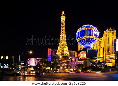 LAS VEGAS - MAY 2:Night View from Strip on the replica of Eiffel Tower at Paris Hotel & Casini on May 2, 2007, NV. Designed after 1920s Paris with replicas of the Eiffel Tower and Arc de Triomphe - stock photo