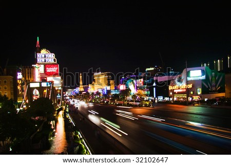 LAS VEGAS - MAY 2: Night view of Las Vegas Boulevard, The Strip on May 2, 2007. Hotels and casinos of Las Vegas, gambling capital. Night life. Las Vegas, Nevada, USA - stock photo