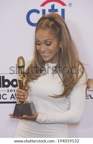 LAS VEGAS - MAY 18 : Recording artist Jennifer Lopez attends the 2014 Billboard Music Awards press room at the MGM Grand Garden Arena on May 18 , 2014 in Las Vegas. - stock photo