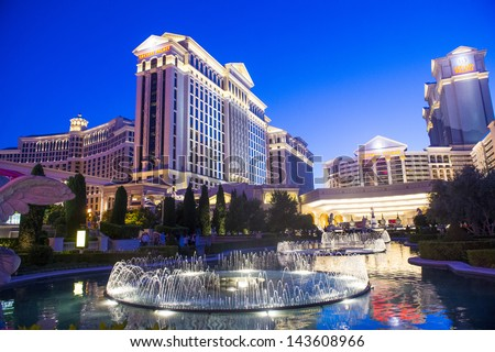 LAS VEGAS - MAY 07 :The Caesar Palace hotel on May 07 2013 in Las Vegas. Caesars Palace is a luxury hotel and casino located on the Las Vegas Strip. Caesars has 3,348 rooms in five towers - stock photo