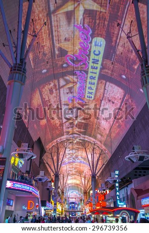 LAS VEGAS - MAY 17 : The Fremont Street Experience on May 17 , 2015 in Las Vegas, Nevada. The Fremont Street Experience is a pedestrian mall and attraction in downtown Las Vegas