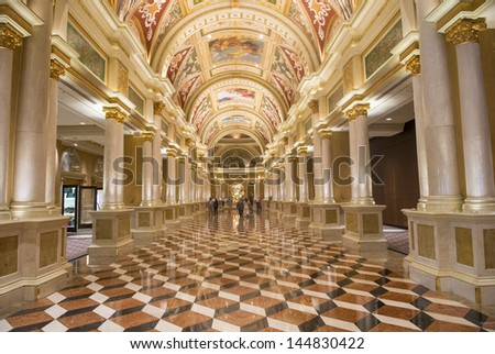 LAS VEGAS - MAY 07 : The interior of the Venetian hotel & Casino in Las Vegas on May 07, 2013. With more than 4000 suites it's one of the most famous hotels in the world. - stock photo