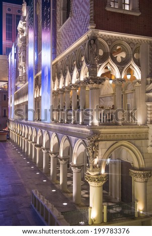 LAS VEGAS - MAY 25 : The Venetian hotel in Las Vegas on May 25, 2014. With more than 4000 suites it`s one of the most famous hotels in the world - stock photo