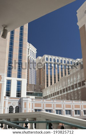 Las Vegas Modern Hotel Buildings. HDR Image. Vertical Orientation - stock photo